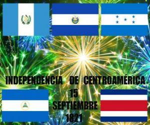 Puzzle de Independencia de Centroamérica, 15 de septiembre de 1821. Conmemoración de la Independencia de España de los actuales países de Guatemala, Honduras, El Salvador, Nicaragua y Costa Rica