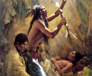Puzzle de Indios americanos en un rito tradicional, invocando a los espiritus