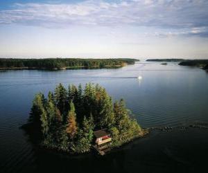 Puzzle de Isla en el Mar Báltico, Finlandia