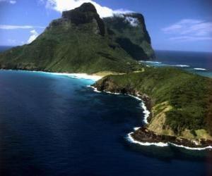 Puzzle de Islas de Lord Howe, este archipiélago es un ejemplo de la generación de un conjunto de islas oceánicas aisladas por una actividad volcánica submarina. Australia.