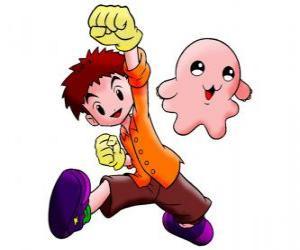 Puzzle de Izzy con su digimon Motimon. Koushiro Izumi es un chico muy inteligente