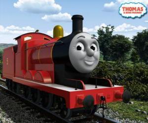 Puzzle de James, la espléndida locomotora número 5 de color rojo