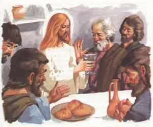 Puzzle de Jesús en la bendición del Pan y el Vino en la última cena