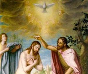 Puzzle de Jesús es bautizado por Juan el Bautista en el río Jordán