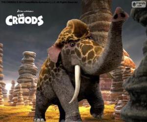 Puzzle de Jirafante de Los Croods, un cruce entre una jirafa y un elefante