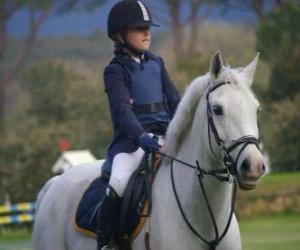 Puzzle de Joven jinete montando, niña a caballo