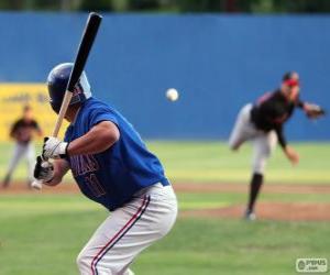 Puzzle de Jugador profesional de beisbol, el bateador con el bate en alto
