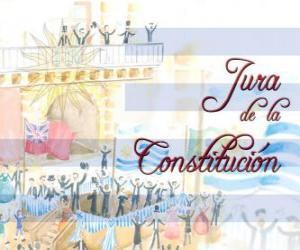 Puzzle de Jura de la Constitución de Uruguay. Cada 18 de julio se celebra el juramento de la primera constitución nacional de 1830