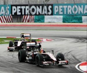 Puzzle de Karun Chandhok, Bruno Senna - HRT - Sepang 2010