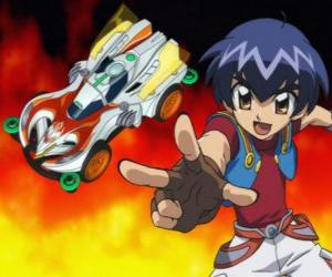 Puzzle de Kazuya lanzando el coche en una carrera