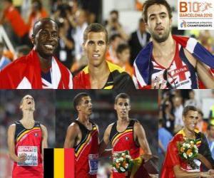 Puzzle de Kevin Borlée campeón de 400 m, Michael Bingham y Martyn Rooney (2º y 3ero) de los Campeonatos de Europa de atletismo Barcelona 2010