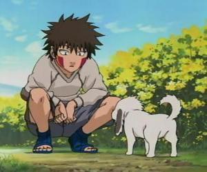 Puzzle de Kiba Inuzuka y su perro y mejor amigo Akamaru forman parte del Equipo 8
