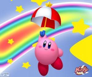 Puzzle de Kirby con un paraguas volando entre las estrellas y el arcoiris