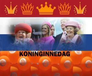Puzzle de Koninginnedag o Día de la Reina, fiesta nacional de los Países Bajos el 30 de abril para celebrar el cumpleaños de la Reina