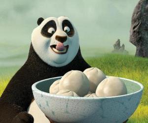 Puzzle de Kung Fu Panda quiere comerse unos panecitos hechos de arroz