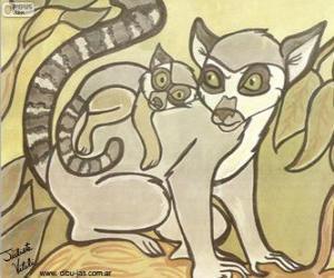 Puzzle de Lémur con su cría. Dibujo de Julieta Vitali