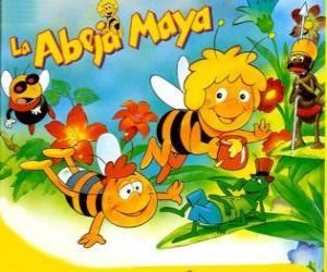 Puzzle de La abeja Maya y su amigo Willi bajo la mirada de Flip y otros personajes