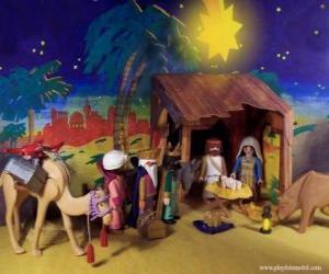 Puzzle de La adoración de los tres Reyes Magos de Oriente al Niño Jesús