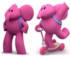 Puzzle de La afable elefanta Elly es la más fuerte y siempre ayuda a sus amigos