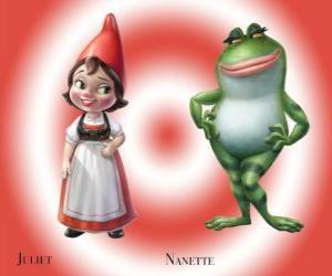 Puzzle de La bella Julieta la hija del líder de los gnomos del Jardín Rojo, junto a su mejor amiga la rana de jardín Nanette