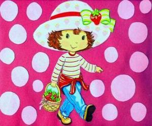 Puzzle de La bonita muñeca Strawberry Shortcake, conocida también como Rosita Fresita, Frutillas o Tarta de Fresa