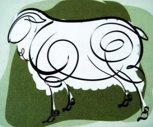 Puzzle de La cabra, el signo de la Cabra, el año de la Cabra en la astrología china. El octavo signo del calendario chino