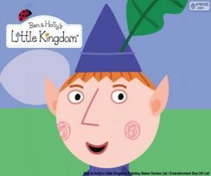 Puzzle de La cara del elfo Ben y su sombrero triangular con la hoja de roble