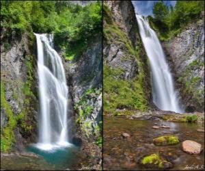 Puzzle de la cascada del Saut deth Pish, de entre 25 y 30 metros de altura el Valle de Arán, Cataluña, España.