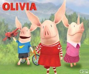 Puzzle de La cerdita Olivia con sus hermanos William y Ian