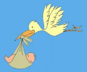 Puzzle de La cigueña transportando un bebé. La cigueña y el bebé