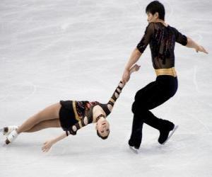 Puzzle de La competición por parejas es una de las disciplinas del patinaje artístico sobre hielo