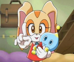 Puzzle de La conejita Cream the Rabbit con su Chao, Cheese