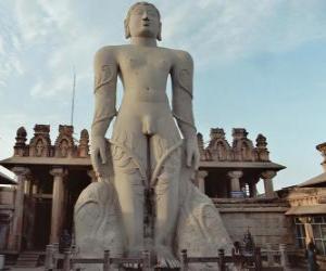 Puzzle de La estatua de Bahubali, también conocido como Gommateshvara, en el templo jainista de Shravanabelagola, India