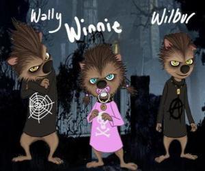 Puzzle de La familia del Hombre Lobo, Los cachorros:  Wally, Winnie y Willbur