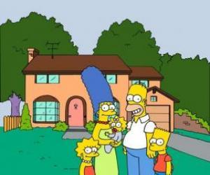 Puzzle De La Fam  Lia Simpson Delante De Su Casa En Springfield