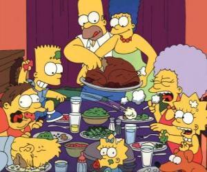 Puzzle de La familia Simpson en el día de Acción de Gracias donde la famili se reúne para comer