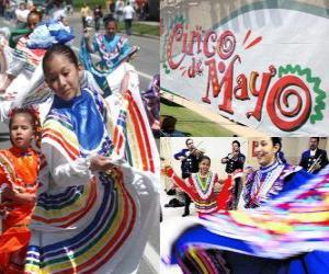 Puzzle de La Fiesta del Cinco de Mayo se celebra en México el 5 de mayo y en Estados Unidos para conmemorar la Batalla de Puebla de 1862