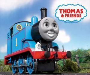 Puzzle de La locomotora Thomas es una locomotora de vapor con el número 1. Thomas y sus amigos