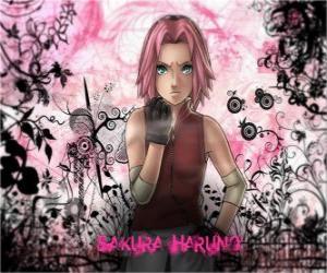 Puzzle de La ninja Sakura Haruno es la única mujer del equipo Grupo 7