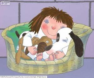 Puzzle de La Pequeña Princesa durmiendo con su  perro Scruff y su osito de peluche