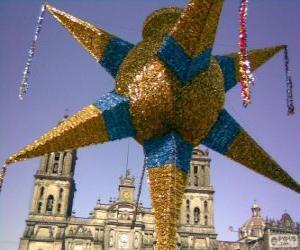 Puzzle de La piñata tradicional en México en las fiestas navideñas, una estrella de nueve puntas, la estrella de Belén