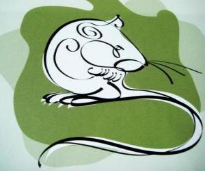 Puzzle de La rata, el signo de la rata, el Año de la Rata. El primer signo de los doce animales del horóscopo chino