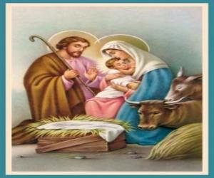 Puzzle de La Sagrada Família - San José, la Virgen María y el Niño Jesús en el pesebre con el buey y la mula