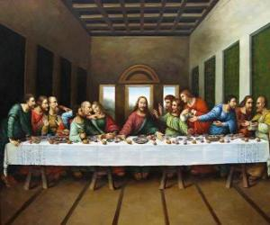 Puzzle de La Santa Cena o la Última Cena - Jesús reunido con sus apóstoles en la noche del Jueves Santo