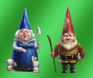 Puzzle de Lady Blueberry madre de Gnomeo y Lord Redbrick padre de Julieta y lideres de los dos jardines rivales
