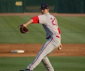 Puzzle de Lanzador o pitcher preparándose para lanzar la bola