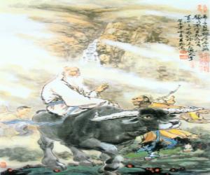 Puzzle de Laozi, Lao Tse o Lao-Tzu, filosofo de la antigua China, figura central del Taoísmo, montando un búfalo