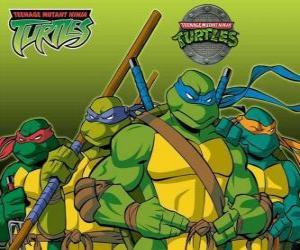 Puzzle de Las cuatro Tortugas Ninja: Leonardo, Michelangelo, Donatello i Raphael. Las Tortugas Ninja o TMNT