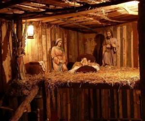 Puzzle de Las figuritas del Nacimiento o belén en una pequeña construcción de madera