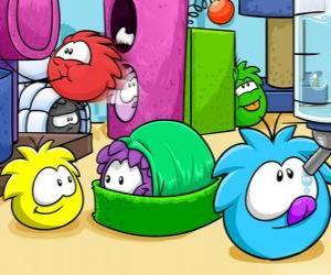 Puzzle de Las mascotas Puffles en el Club Penguin